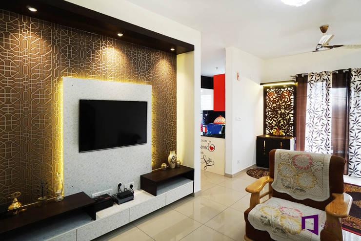 Ajay & Yogita's apartment in Sobha dream Acres,Varthur,Bangalore:  Living room by Asense,Minimalist