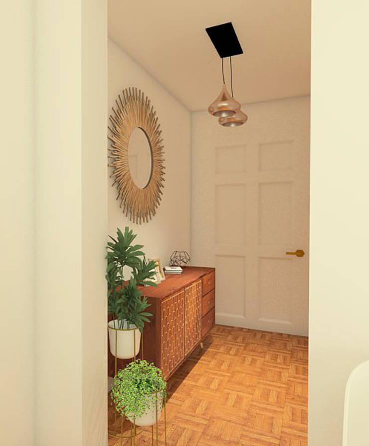 Mid century moderno – Living y Comedor: Pasillos y hall de entrada de estilo  por MM Design