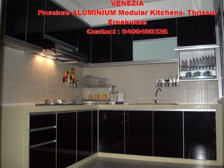 BLACK WHITE KITCHEN CABINET - LOW COST KITCHEN- STEEL KITCHEN finish Call 9400490326: classic  by BANGALORE ALUMINIUM Kitchen- MODULAR KITCHEN BANGALORE & Home INTERORS ALUMINIUM KITCHEN BANGALORE,Classic