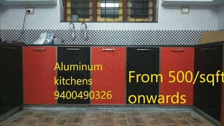 low cost kitchen cabinet bangalore call 9449667252: modern  by BANGALORE ALUMINIUM Kitchen- MODULAR KITCHEN BANGALORE & Home INTERORS ALUMINIUM KITCHEN BANGALORE,Modern