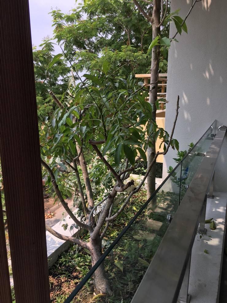 Thiết kế nhà phố đẹp đề cao tinh thần thân thiện với thiên nhiên.:  Hiên, sân thượng by Công ty TNHH Thiết Kế Xây Dựng Song Phát