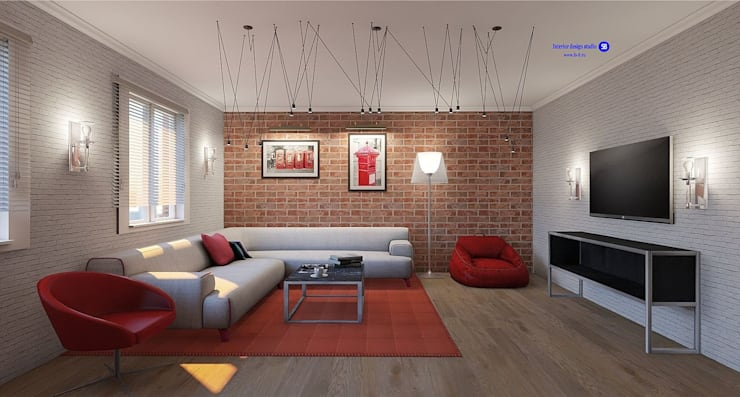 Living room in Loft style:  Living room by 'Design studio S-8'