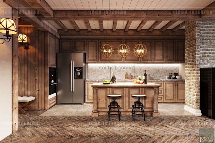 Phong cách Rustic ~ Rustic style ~ Vinhomes Central Park:  Nhà bếp by ICON INTERIOR