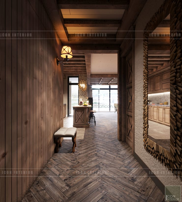 Phong cách Rustic ~ Rustic style ~ Vinhomes Central Park:  Cửa ra vào by ICON INTERIOR