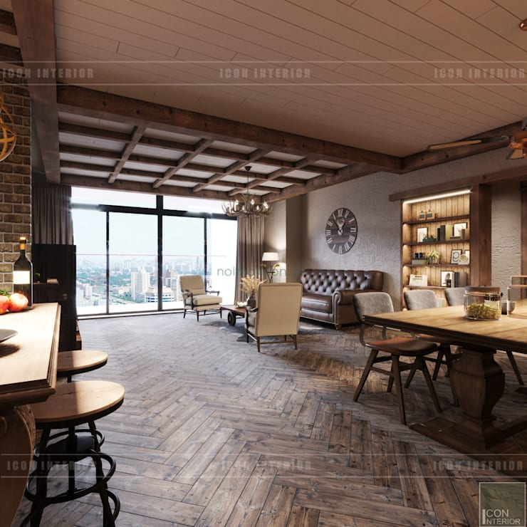 Phong cách Rustic ~ Rustic style ~ Vinhomes Central Park:  Phòng khách by ICON INTERIOR