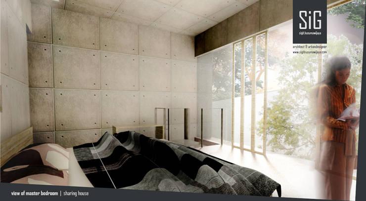 Rumah Riung (Communal Sharing & Gardening House):  Kamar Tidur by sigit.kusumawijaya | architect & urbandesigner