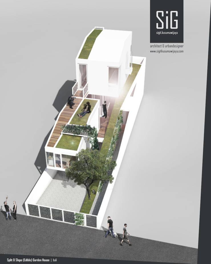 Split & Slope (Edible) Garden House:  Rumah tinggal  by sigit.kusumawijaya | architect & urbandesigner