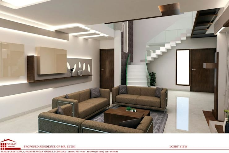 Interiors:  Living room by Raheja Creations