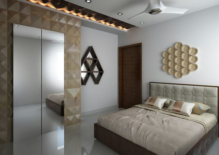 Bedroom with a designer headboard :  Bedroom by Rhythm  And Emphasis Design Studio ,Modern