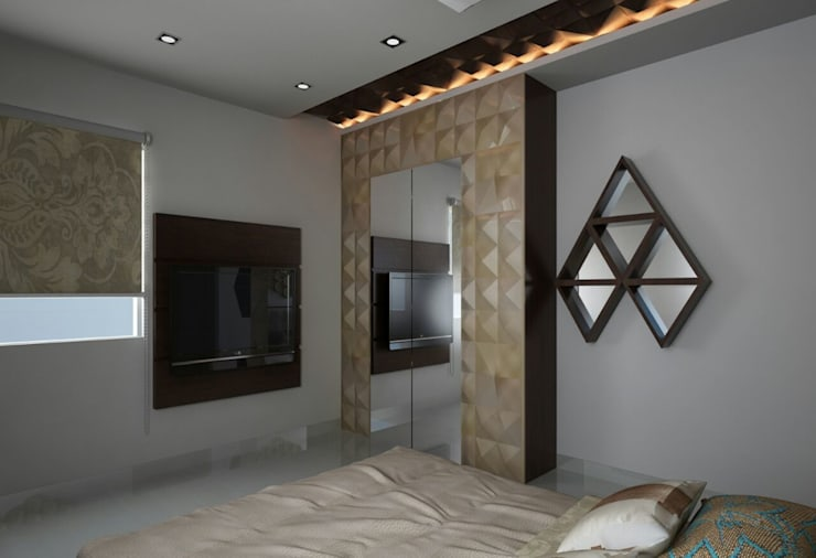 Wardrobe with a mirror panel design :  Living room by Rhythm  And Emphasis Design Studio ,Modern