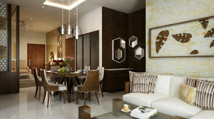 Living and dining room design in neutral shades :  Living room by Rhythm  And Emphasis Design Studio ,Modern