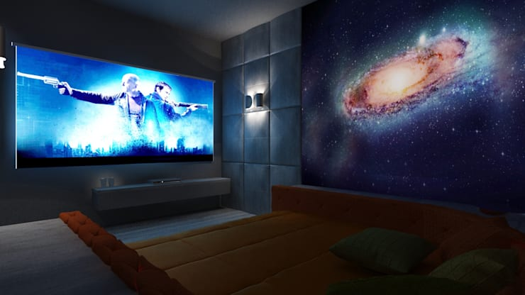 Home theatre design in a villa :  Media room by Rhythm  And Emphasis Design Studio ,Modern