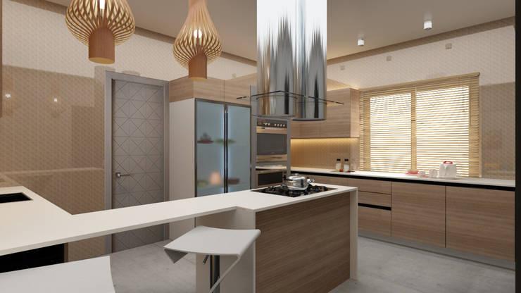 Modern kitchen design in shades of beige and brown :  Kitchen by Rhythm  And Emphasis Design Studio ,Modern