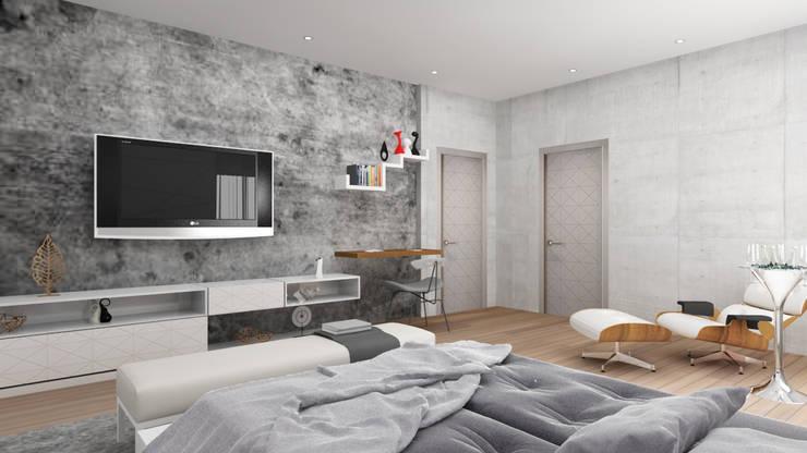 Tv unit design in the bedroom :  Bedroom by Rhythm  And Emphasis Design Studio ,Modern