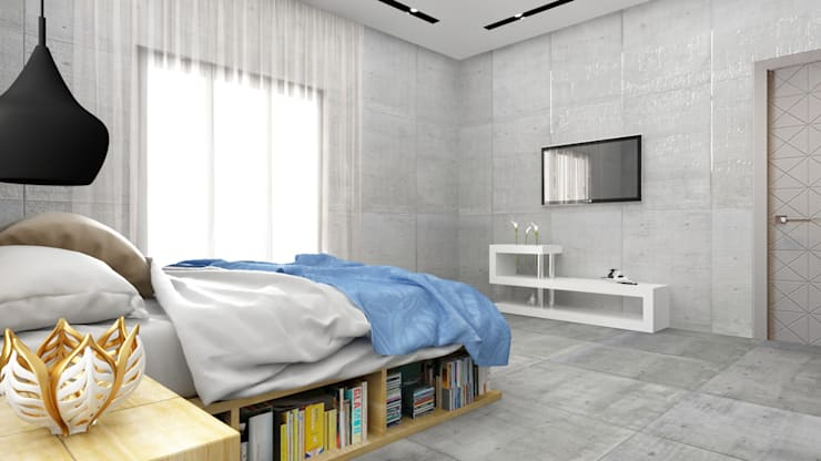 tv unit un bed room with storage below the bed :  Bedroom by Rhythm  And Emphasis Design Studio ,Modern