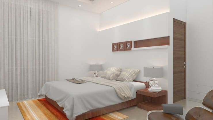 Contemporary master bedroom in white and brown palette:  Bedroom by Rhythm  And Emphasis Design Studio ,Modern