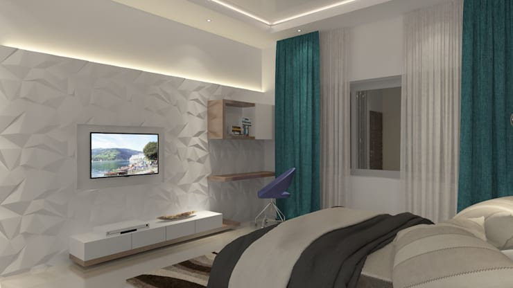 tv cum study unit deign in the bedroom:  Bedroom by Rhythm  And Emphasis Design Studio ,Modern