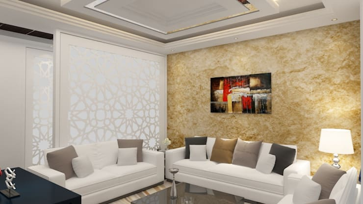 Drawing room interiors :  Living room by Rhythm  And Emphasis Design Studio ,Modern
