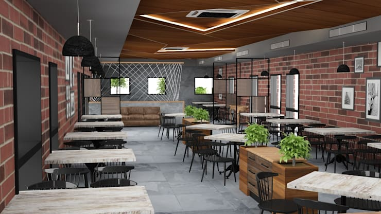 Cafe interiors of dining area :  Gastronomy by Rhythm  And Emphasis Design Studio ,Modern