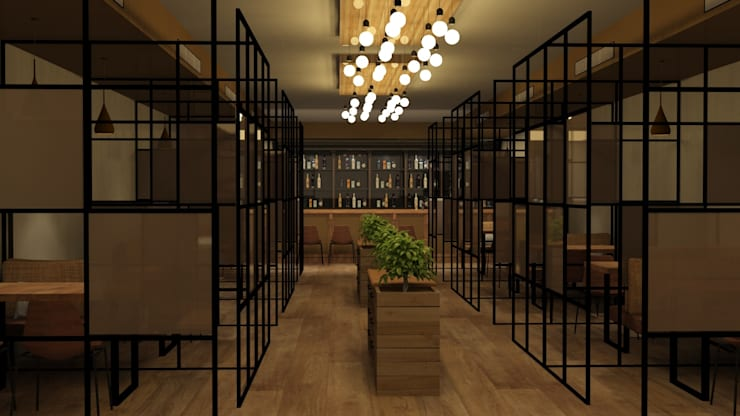 Private dining area in cafe :  Gastronomy by Rhythm  And Emphasis Design Studio ,Modern