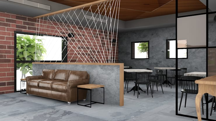 Waiting area in the cafe interiors :  Gastronomy by Rhythm  And Emphasis Design Studio ,Modern