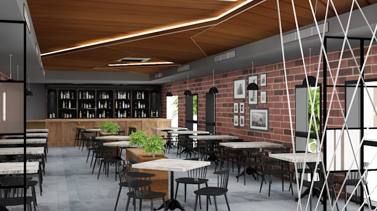 Rustic modern themed cafe interiors :  Gastronomy by Rhythm  And Emphasis Design Studio ,Modern