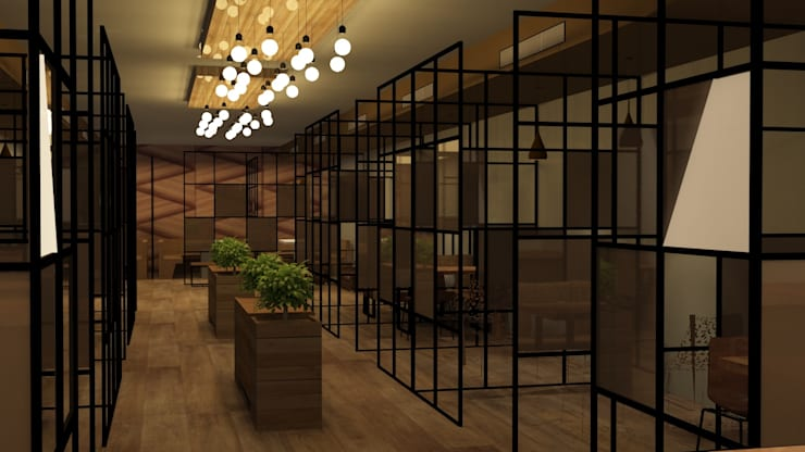 Cafe interiors rustic modern style :  Gastronomy by Rhythm  And Emphasis Design Studio ,Modern