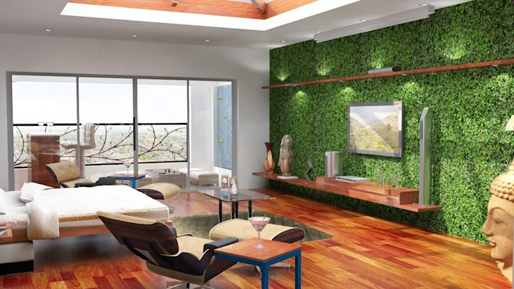Tv unit design with the grass wall as a back panel:  Living room by Rhythm  And Emphasis Design Studio ,Modern