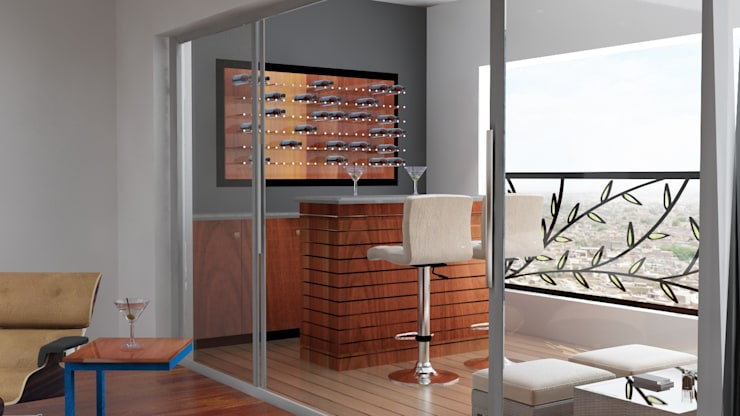 Modern Bar unit design in the residence :  Dining room by Rhythm  And Emphasis Design Studio ,Modern