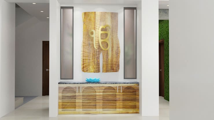 pooja design interior :  Corridor & hallway by Rhythm  And Emphasis Design Studio ,Modern