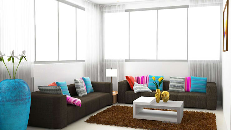 seating design in living room :  Living room by Rhythm  And Emphasis Design Studio ,Modern