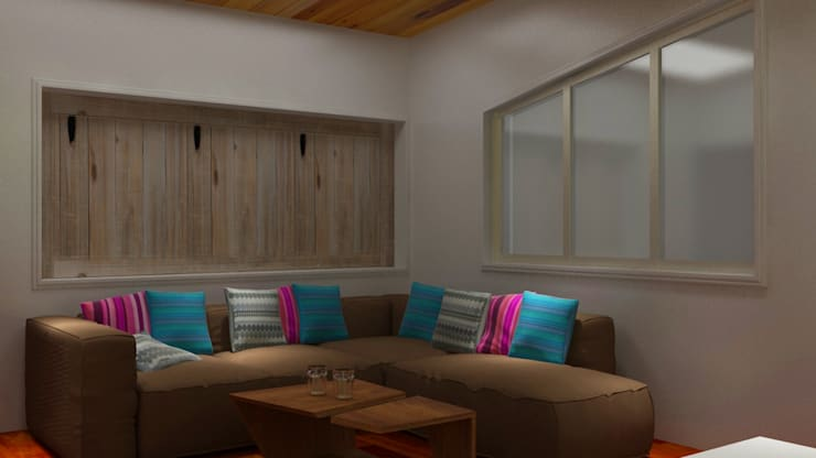 2BHK With a terrace design gardening design :  Living room by Rhythm  And Emphasis Design Studio ,Modern