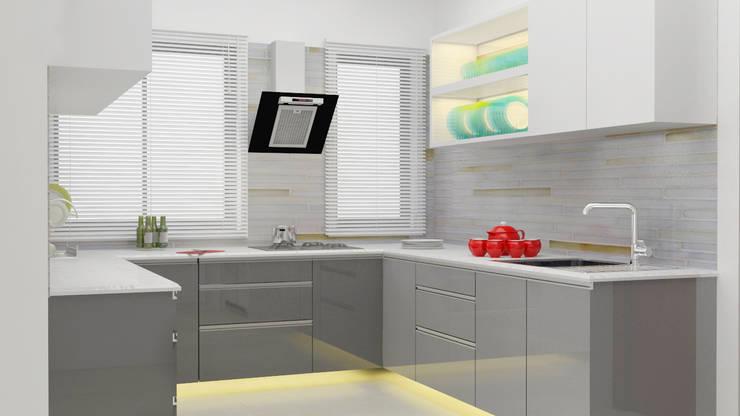 grey colour theme kitchen design :  Kitchen by Rhythm  And Emphasis Design Studio ,Modern