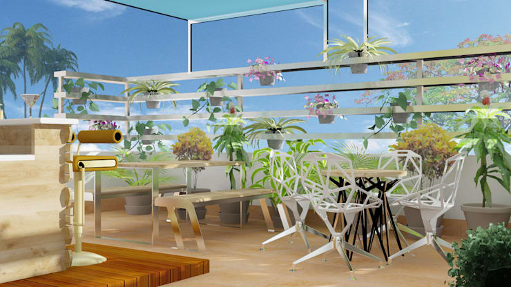 terrace balcony design with seating:  Dining room by Rhythm  And Emphasis Design Studio ,Modern