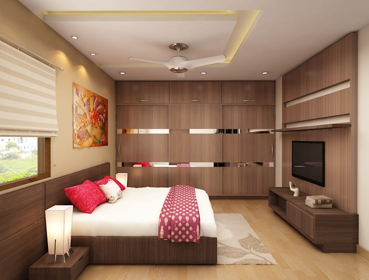 Minimal interiors design for bedroom with tv unit and wardrobe : modern  by Rhythm  And Emphasis Design Studio ,Modern
