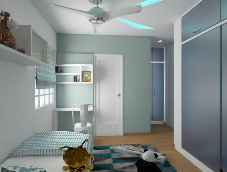 Pastel palette for the kids bedroom - Study unit : modern  by Rhythm  And Emphasis Design Studio ,Modern