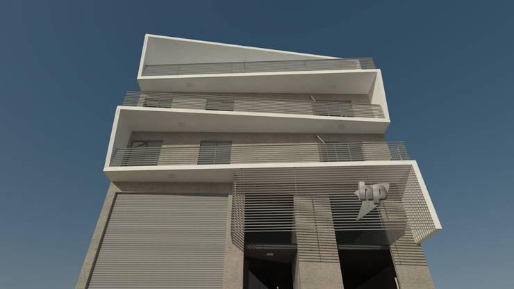 FACHADA DIURNA: Casas multifamiliares de estilo  por GS TALLER DE ARQUITECTURA,Moderno Concreto reforzado