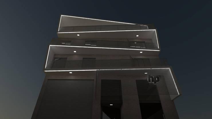 FACHADA NOCTURNA: Casas multifamiliares de estilo  por GS TALLER DE ARQUITECTURA,Moderno Concreto reforzado
