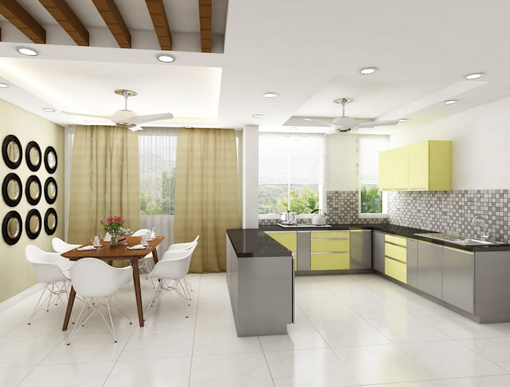 Intigrate your kithcn with dining space: modern Kitchen by Rhythm  And Emphasis Design Studio