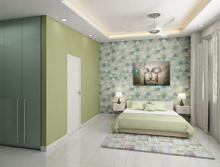 Bedroom design with minimal false ceiling design and wall paper  :  Bedroom by Rhythm  And Emphasis Design Studio ,Modern