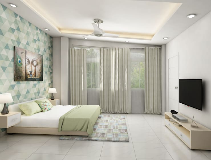 Bedroom with low height bed and tv unit design :  Bedroom by Rhythm  And Emphasis Design Studio ,Modern