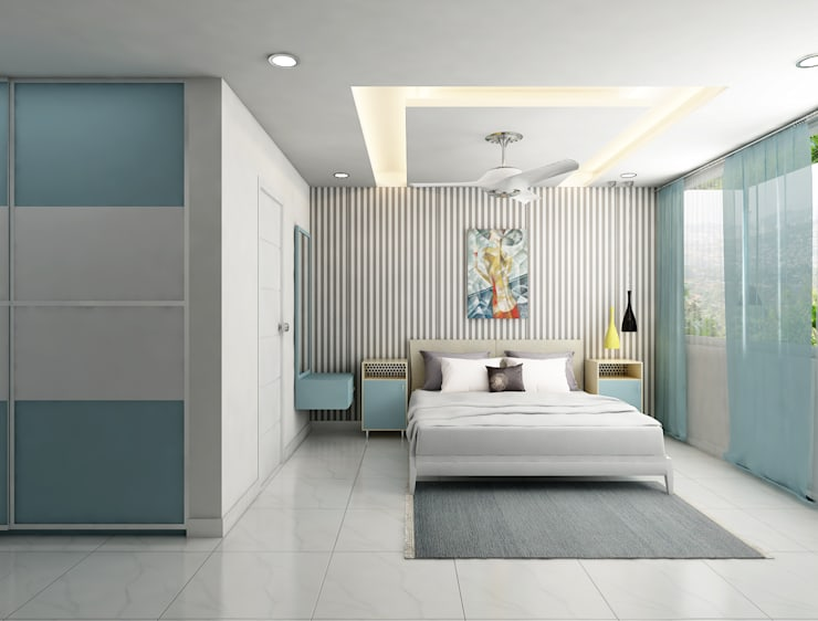 pastel shades in the bedroom design :  Bedroom by Rhythm  And Emphasis Design Studio ,Modern