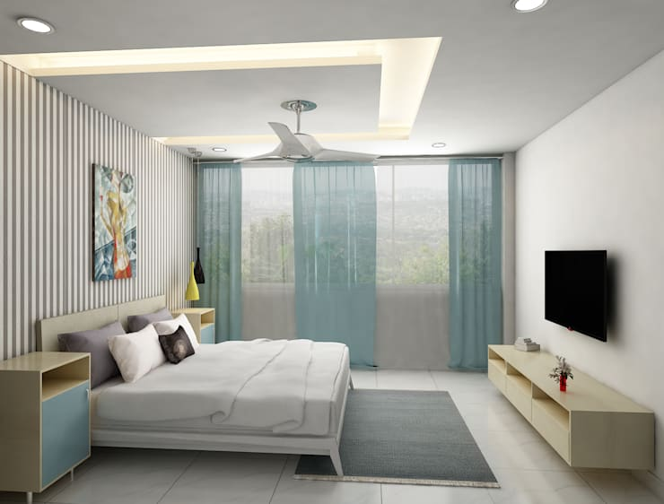 bedroom with tv unit design :  Bedroom by Rhythm  And Emphasis Design Studio ,Modern