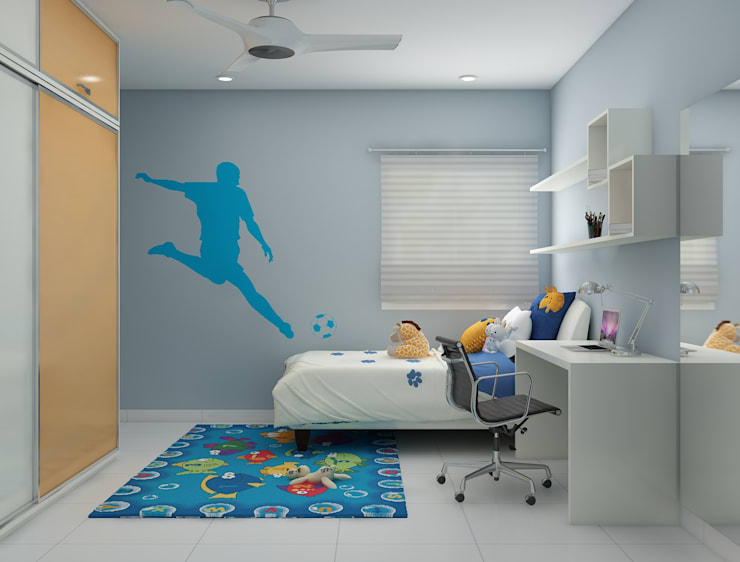 A smart room for your kid in blue shades:  Nursery/kid's room by Rhythm  And Emphasis Design Studio ,Modern