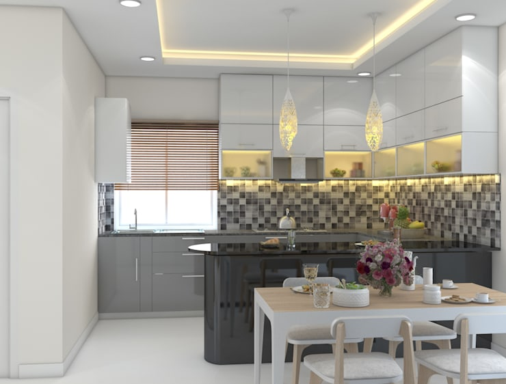 Open Kitchen Ideas in white and grey with a breakfast counter :  Kitchen by Rhythm  And Emphasis Design Studio ,Modern