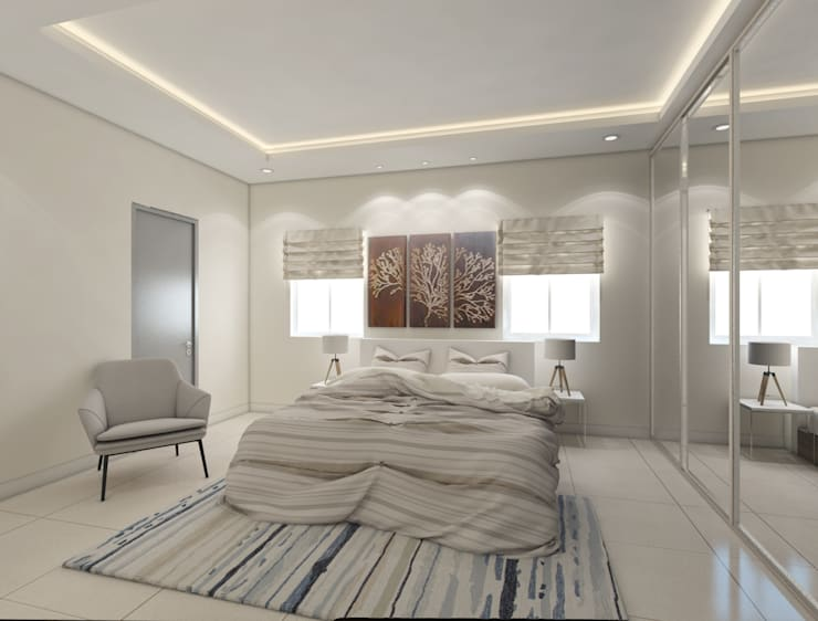Bedroom with wall decor in white shades for a peaceful look.:  Bedroom by Rhythm  And Emphasis Design Studio ,Modern