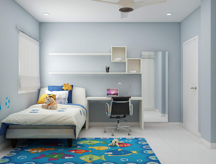 study unit in the bedroom for a simple design :  Nursery/kid's room by Rhythm  And Emphasis Design Studio ,Modern