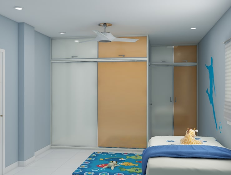 wardrobe design in the kids bedroom in beige and white lacquered material :  Bedroom by Rhythm  And Emphasis Design Studio ,Modern