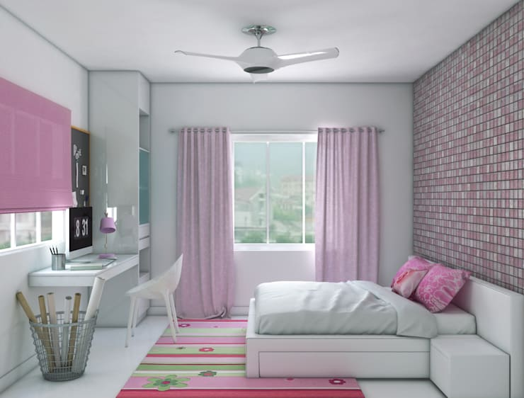 girls bedroom with study unit design :  Nursery/kid's room by Rhythm  And Emphasis Design Studio ,Modern