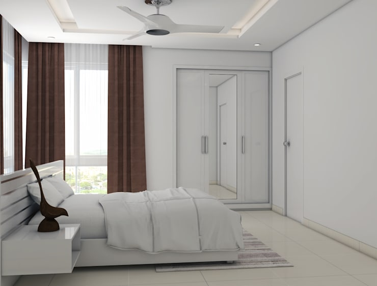 white themed bedroom:  Bedroom by Rhythm  And Emphasis Design Studio ,Modern